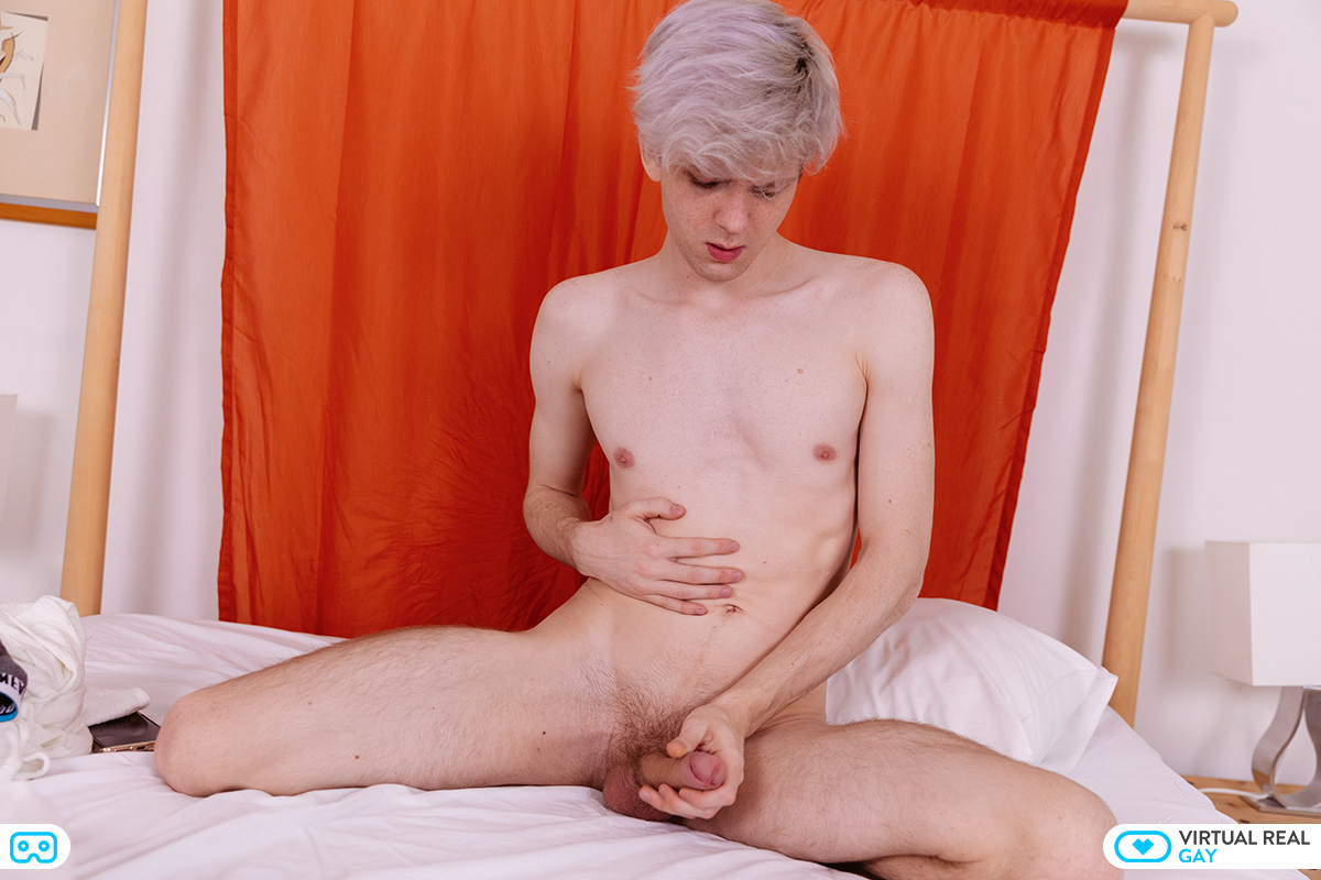 cute 18 year old twink holding his cock