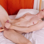 twink stroking cock and masturbating ass with anal dildo