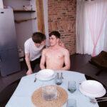 Josh Cavalin, Jacob Harris twinkssitting at dining table