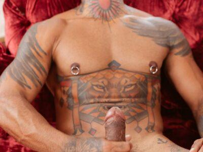 gay arab man tugging away at his big penis